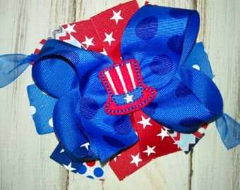 Uncle Sam Fourth of July Layered Boutique Style Hair Bow