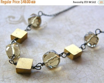 20% Off Topaz Cube Necklace, Vintage Brass Squares Necklace, Mixed Metals Necklace