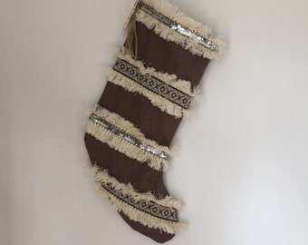Upcycled Brown Wool Moroccan Inspired Fringe Sequin Holiday Stocking