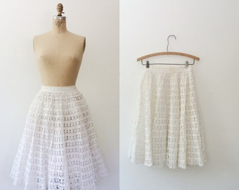 1950s skirt / white lace skirt / Tatted Lace Chaya skirt