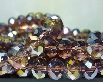 6mm AB dark Amethyst Crystal Beads 8 Rondelle crystal Beads