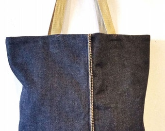 Small Denim Tote Bag, Vegan Bag in Blue Denim with Bead Chain Trim, Denim Handbag
