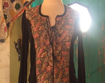 VINTAGE 70s long sleeve quilted floral tie up blouse BOHEMIAN