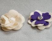 Cream Flowers Felt Hair Clip Set