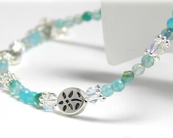 Gemstone Anklet, Crystal Anklet, Turquoise Blue Anklet, Beach Anklet, Sterling Silver Anklet,  Anklet for Women