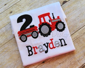 Custom tractor birthday shirt. Sizes 12m to youth medium. Made to match your party theme.