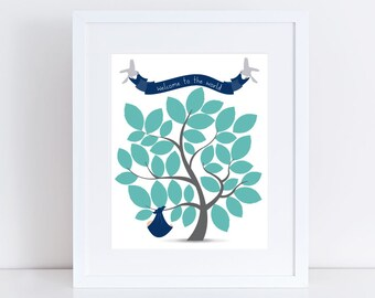 boy's baby shower guest book tree print - signature guestbook - new baby, nursery art, keepsake, wall decor, custom guest sign in, birds art