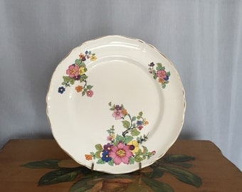 Floral Plate Knowles Taylor and Knowles Ivory Vintage Dinner Ceramic Flowers Gold Gilt Scalloped Edge Pink Blue Orange Purple Green Black