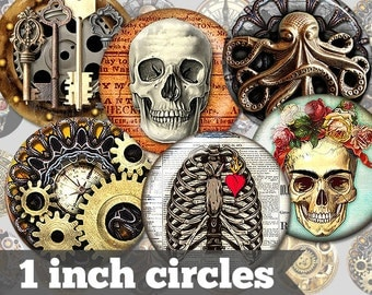 Steampunk - 1 Inch Circles - 15 Unique Images - Digital Collage Sheet - Jewelry Supply, Cabochon, Bottle Caps - INSTANT DOWNLOAD