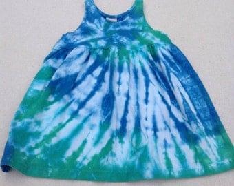 Tie Dyed, Cerulean Blue and Irish Green Spider Web  Girls/Toddler Empire Waist Sun Dress/Jumper/Tunic