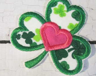 Shamrock Heart Iron On or Sew On Embroidered Applique - Custom Made  READY TO SHIP in 3-7 Business Days