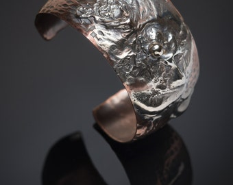 Hammered - Textured - Copper Cuff with Reticulated Sterling Silver