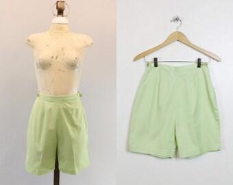 60s Shorts Catalina XS / 1960s Cotton Walking Shorts /  Pistachio Palm Shorts
