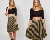 Vintage 80s STRIPED Mini Skirt Gold & Black METALLIC Mini Skirt Glam Flare Skater Skirt CHEVRON Stripe Skirt