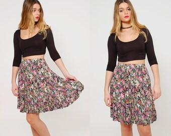 Vintage 90s FLORAL Crinkle Mini Skirt Short Indie Skirt GRUNGE Floral Skirt Rayon Skirt