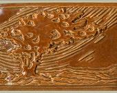Arts and Crafts Style Windswept Tree Scene  Three tile set in Burnt Orange Decorative Art Tile