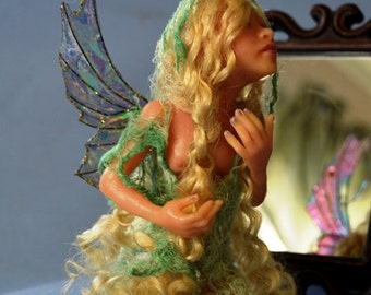 Vintage 1995 Limited Edition Lumicast resin Dream Keeper Fairy Fairae Artist Doll Blonde & Green by Artist Stevi T