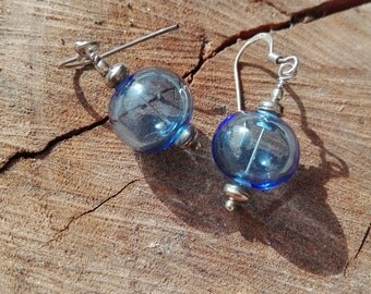 Pair of silver earrings with lampwork glass beads hollow handmade by GhirigoriGlass
