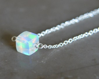Ethiopian Opal Cube Necklace Sterling Silver