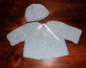 Crochet Baby Sweater Sacque and Hat