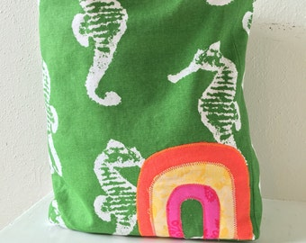 Seahorse Tote/ Rainbow Bag/ Purse