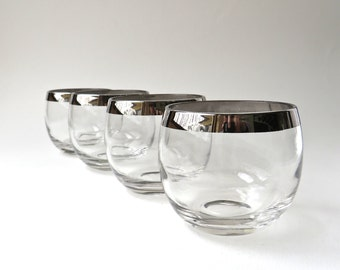 Mid Century vintage Silver Band Roly Poly Glasses / Silver Rim Cocktail Glasses / Set of 4