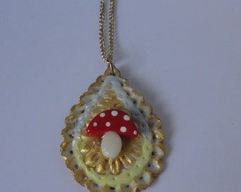 Mushroom Pendant  Necklace.