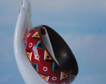 Enameled Brass Bangle Bracelet. Red, Blue, Yellow, Brown,Black and White.