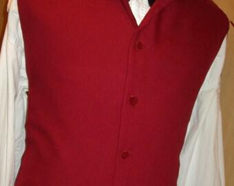 "Men's Dark Red Rococo High Neck Regency Edwardian Style Vest Waistcoat 36"" (V45)"