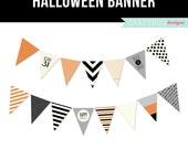 Halloween Banner Printable Banner - Halloween Party Printable Banner - Orange Black Stripes Polka Dots Trick or Treat October Grey