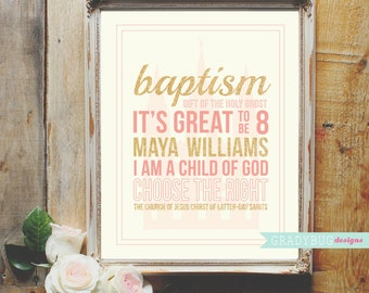 LDS Girl Baptism Personalized Name Print Baptism Name Print Custom LDS Name Printable Pink and Gold 8x10