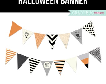 Halloween Banner Printable Banner - Halloween Party Printable Banner - Orange Black Stripes Polka Dots Trick or Treat October Grey