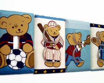 Sports Light Switch Cover - Sport Nursery Decor - Baseball Outlet Cover - Teddy Bear Switch Plate - Boys Baby Shower Gift - Baseball Soccer