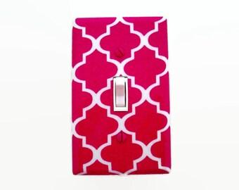 Quatrefoil Light Switch Cover - Dark Pink Nursery Decor - Quatrefoil Pink Switch Plate - Girls Pink Baby Room - Dark Pink Bedroom
