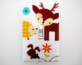 Woodland Switch Plate Cover - Deer Light Switch Cover - Woodland Baby Nursery - Gender Neutral Forest Friends Babys Room - Hedgehog