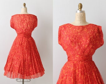 Vintage 1950s Silk Chiffon Dress / Party Dress / Formal Lace / Poppy Red