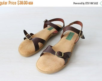 On SALE Vintage 1980s Strappy Adjustable Strap Sandals / Bass Brown Leather / Cushy Insoles / Rubber Soles / Size 7