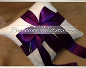 Romantic Satin and Lace Ring Bearer Pillow...You Choose the Colors...Buy One Get One Half Off...shown in ivory/eggplant purple