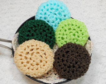 Pot Scrubbers, crochet, cleaning aids, kitchen, scour pad, nylon net scrubbie, home, durable, eco-friendly. Earthtones Collection of a 5pk.