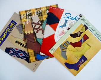 Vintage LOT 4 Knitting Books, Booklets For Socks, Argyles, Anklets, Gloves, Mittens, Golf Club Covers 1940's 1950's