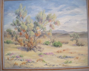 Oil Painting Cathedral Canyon Wash Arizona Oil on Board Framed Signed Mid-Century 1958 Desert Landscape
