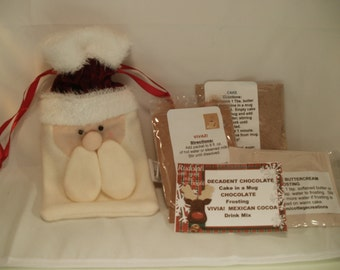 Santa Gift Bag with Cake in a Mug, Drink Mix, Frosting