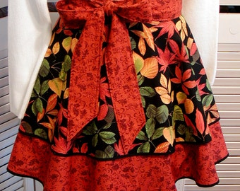 FALL Print Flirty HALF APRON Autumn Leaves Rust/Gold/Green/Black 100% Cotton 2 Tier Ladies' Kitchen Accessory