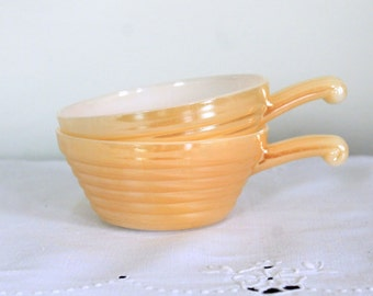 Set of Two Peach Lusterware Fire King Bowls with Handles
