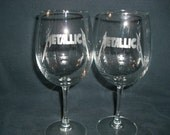 Set Of 2 Metallica Wine Glasses