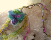 crystal fairy pouch - needle felted leaf flower and moss spring fairy pouch from the enchanted forest