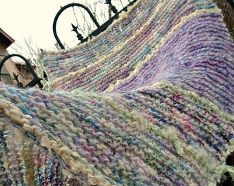 rustic hand knit blanket art yarn blanket - forest blanket - forest faerie daydream blanket