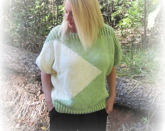 Adult Short Sleeve Pullover Knitting Pattern  for Adults SML