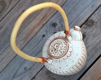 Stoneware Teapot in white with rustic brown decoration  - Stoneware (grès) Teapot - Ceramic teapot