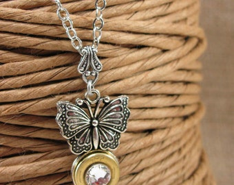 Bullet Jewelry - Butterfly Necklace - Insect Jewelry - 410 Gauge Shotgun Casing Silver Butterfly Pendant Necklace - Gun Jewelry